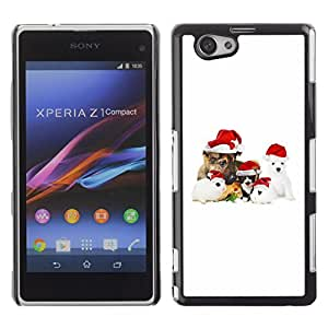 YOYO Slim PC / Aluminium Case Cover Armor Shell Portection //Christmas Holiday Cute Holiday Dog Puppy 1180 //Sony Xperia Z1 Compact
