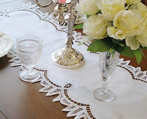 Cozymom Home Fashions Handmade White Wedding Placemat Table Doily Runner,embroiderylace Linen 40x133cm