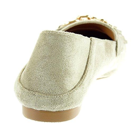 3271e73552b5 ... Angkorly Damen Schuhe Mokassin - Slip-On - Fransen - Kette - Golden  Blockabsatz 1