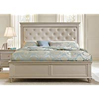 Celandine Platform Bed w/Upholstered Headboard in Silver - Queen