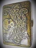 Bronze Metal Raised Design Skull Cigarette Case