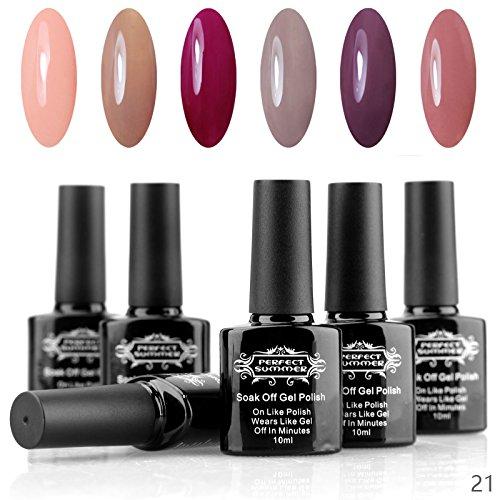 Perfect Summer Shellac 10ml Gel Nagellack Aufloesbarer UV LED Multi Farben 6pcs Kit #21