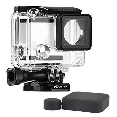 SOONSUN Standard Waterproof Dive Housing Case for GoPro Hero 4 3+ 3 Hero3 Hero4 Action Camera - Underwater 40 Meters (131 Feet) - Include Lens Cap and Quick Release Buckle