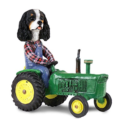 Cavalier King Charles Spaniel Black & White Tractor Doogie Collectable (Miniature Cavalier King Charles Spaniel)