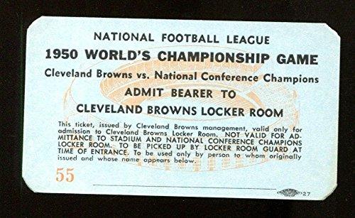Browns Nfl Room Locker (1950 NFL Championship Press Pass Locker Room Ticket Browns (30) Rams (28) 25438)