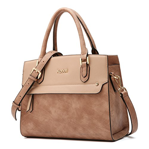 Faux Leather Satchel Handbag - Kadell Women's Vintage Leather Handbags Tote Satchel Shoulder Bag Top Handle Purse Light Brown