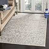 Safavieh Glamour Collection GLM515A Silver and Ivory Area Rug, 3′ x 5′ For Sale
