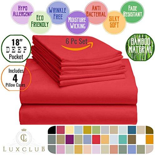 6 PC LuxClub Sheet Set Bamboo Sheets Deep Pockets 18