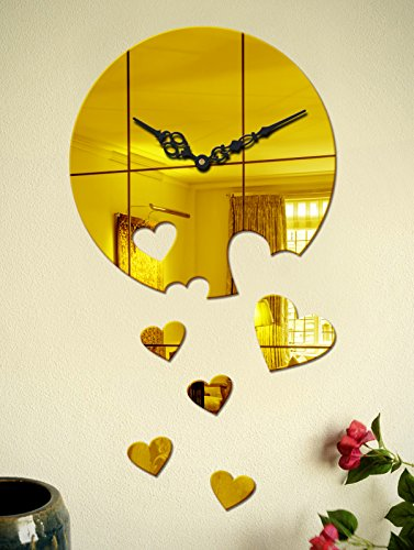Sehaz Artworks Moon Heart Decal Asymmetric Acrylic Wall Clock (27 cm x 27 cm x 4 cm, Gold)