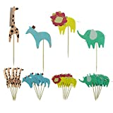 Shxstore Zoo Animal Cake Toppers Cupcake Picks For Jungle Theme Baby Shower Birthday Party Decorations Supplies, 24 Counts