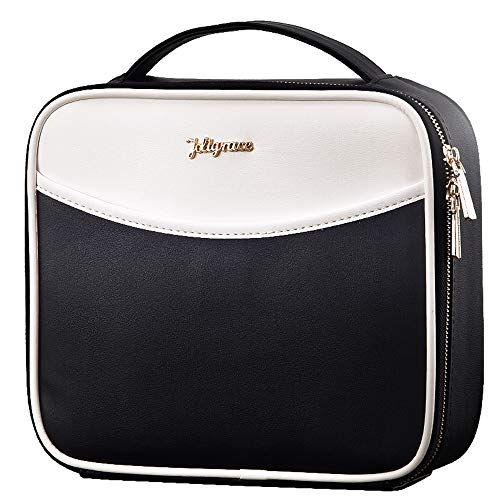 Makeup Bag Cosmetic Leather Organizer - 10.4 PU Travel Train Case with Compartments and Dividers Portable Travel Make Up Storge Mini Size for Girl and Women