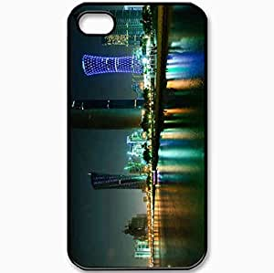 Protective Case Back Cover For iPhone 4 4S Case Night Lights Skyscrapers Sea Doha Black