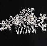Bridal Crystal Pearl Rhinestones Side Comb Hair Accessories Headpiece Bride Flowers Leaves Mixed Rhinestone Headdress