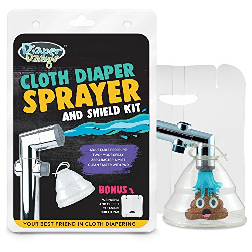 Diaper Dawgs Premium Dual Mode Cloth Diaper Sprayer - Includes Patented Germ and Splatter Shield - A Powerful Diaper Washer Hand Held Bidet Sprayer for Cloth Diapers