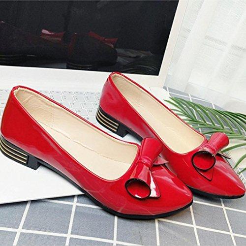 Hunpta Herbst Casual Frauen Büro Shallow Mund Runde Toe Bowknot Dicke High Heel Schuhe Rot