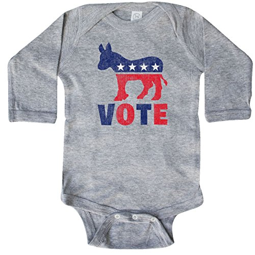 inktastic - Democrat Donkey Vote 2 Long Sleeve Creeper Newborn Heather Grey db61
