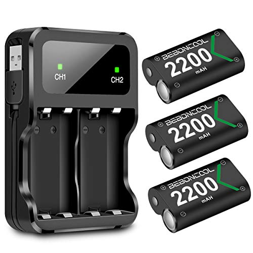 BEBONCOOL Xbox One Rechargeable Battery Pack 3x2200mAh Xbox One Battery Packs for Xbox One/One S/One X/Elite Controller Charger Xbox Play and Charge Kit ... ()