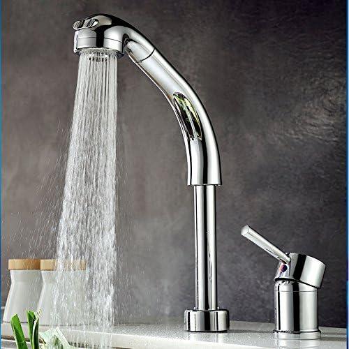 キッチン蛇口 混合水栓 ハンドシャワー形(ヘッド引き出しタイプ) 任意の角度回転可能 シングルレバー 台付 クロームメッキ シルバー色 CLCF007