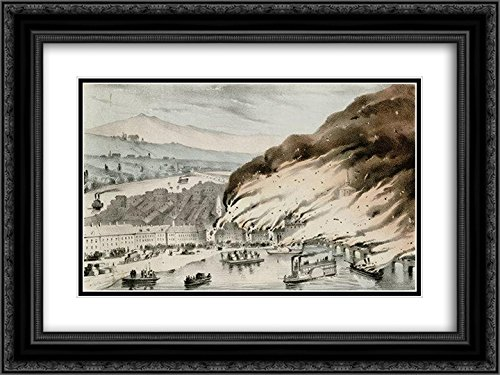 Currier and Ives 2x Matted 24x18 Black Ornate Framed Art Print 'Great Conflagration at Pittsburgh - Galleria Pittsburgh