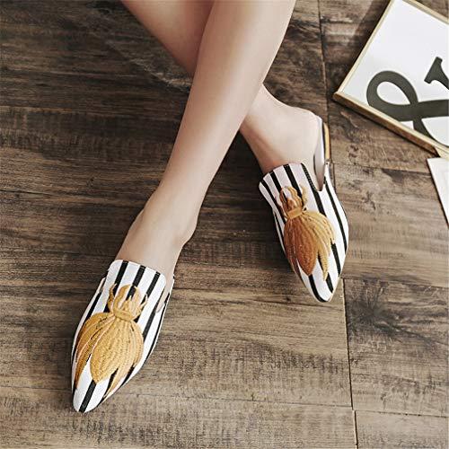 Chaussures des L'Extérieur White À Chaussure YUCH Porter Brodée Femme Paresseuses IqXTRSw