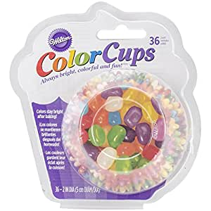 Wilton 415-2754 36 Count Color Cups Jelly Bean Baking Cups, Assorted
