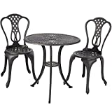 Merax 3-Piece Outdoor Bistro Patio Set Cast Aluminum Furniture Set Table and Chairs, Black Review