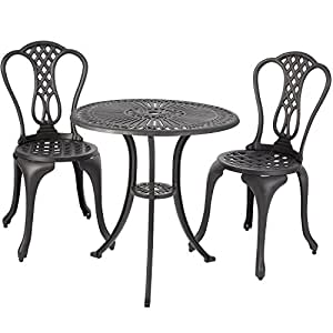 merax 3 piece outdoor bistro patio set cast aluminum furniture set table and chairs. Black Bedroom Furniture Sets. Home Design Ideas