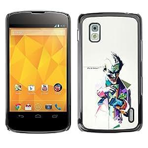 LG Google NEXUS 4 / Mako / E960 , Radio-Star - Cáscara Funda Case Caso De Plástico (Why So Serious ? Joker)