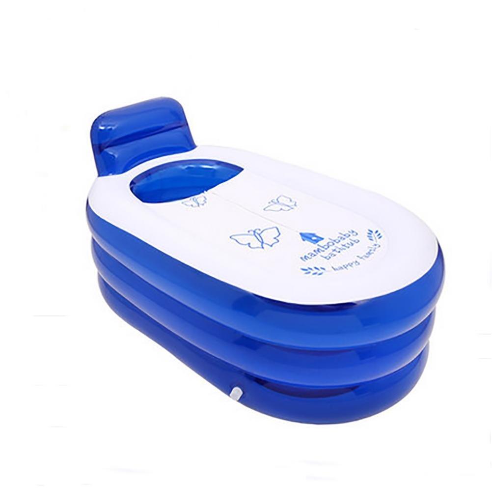 POTA Foldable Durable Adult SPA Inflatable Bath Tub with Electric Air Pump , blue