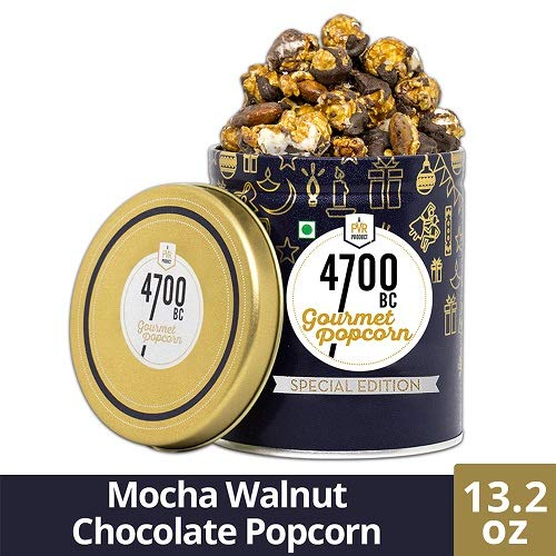 - 4700BC Mocha Walnut Chocolate Popcorn, Tin, 13.2 oz | Gourmet Popcorn | Popcorn Tin