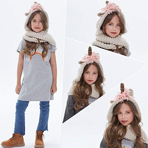389b8359d21 Tacobear Crochet Cartoon Unicorn Winter Hat with Scarf Pocket Hooded  Knitting Beanie for Girls