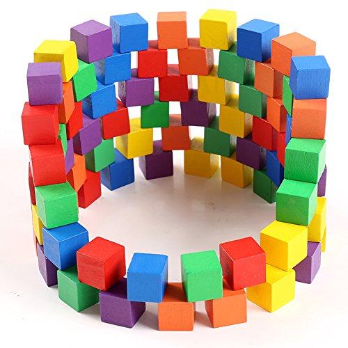 図形キューブつみき 木製の立方体の立方体正方形積塊の数学教具キューブのおもちゃ (100粒)