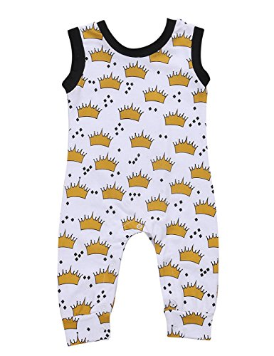 CaNIS Baby Boys Girls Sleeveless Full Crowns Print Harem Romper Jumpsuit Outfit