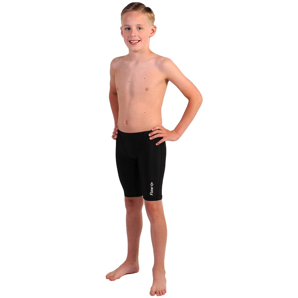 Flow Swim Jammer - Boys Youth Sizes 20 to 32 in Black, Navy, and Blue (24 Black Crescents)