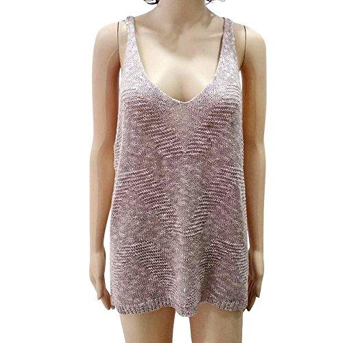 ANJUNIE Women Beach Handmade Knitting Sleeveless Vest Solid Sweater Loose Blouse(Pink,L)