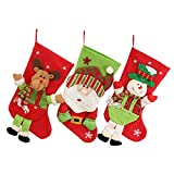 Image of Baban 3D Christmas Stocking, Santa Claus Bag Gift Stocking Lovely New Year Ornament Socks Pull Flannel 240x500mm Pack of 1 Pcs - Gift Option