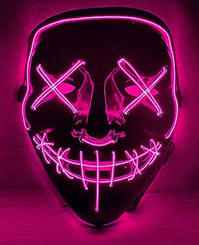 Cosweet Halloween Lighting Mask Scary Cosplay LED Costume Mask for Halloween Festival Parties-Purple (Light Led Purge)