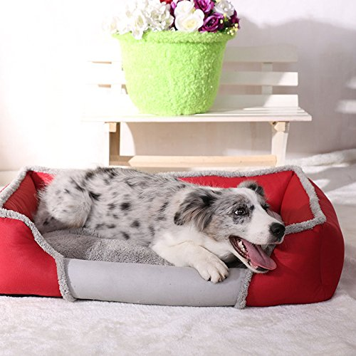Red Small red Small Square Pet Dog Bed Soft Fleece Plush Cushion Washable Puppy Cats Kennel Pets Nest Basket