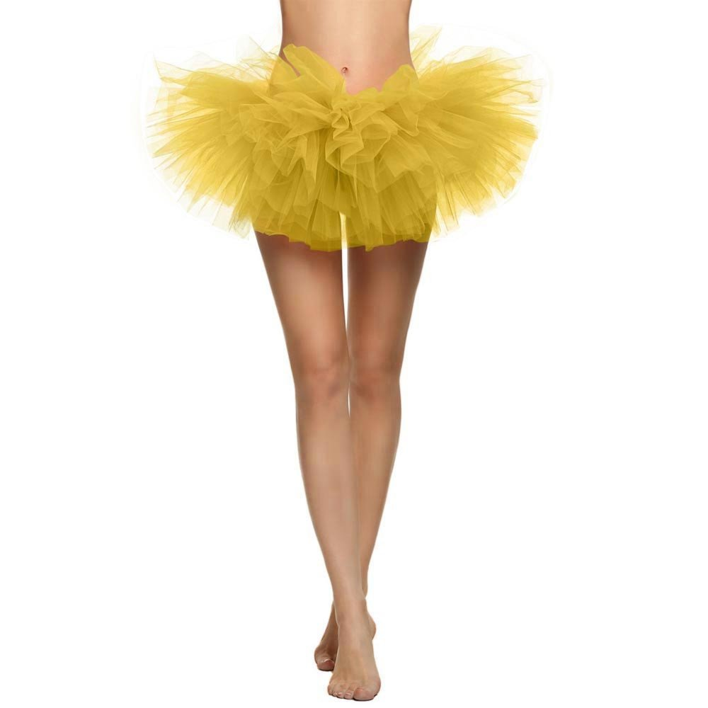 TWGONE Tulle Skirt For Women Pretty Girl Elastic Stretchy Tutu Adult 5 Layers Skirt(One Size,Yellow)