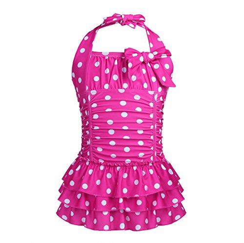 Tankini Pink Dot (MSemis Little/Big Girls One Piece Adjustable Polka Dot Bathing Suit Ruffle Skirted Swimwear Swim Dress Rose 7-8)