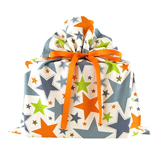 Stars II Reusable Fabric Gift Bag for Birthday, Graduation, or Any Occasion (Medium 17 Inches Wide by 18.5 Inches High)