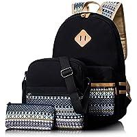 3Pc. Leaper Casual Lightweight Canvas Laptop Bag Shoulder Bag School Backpack