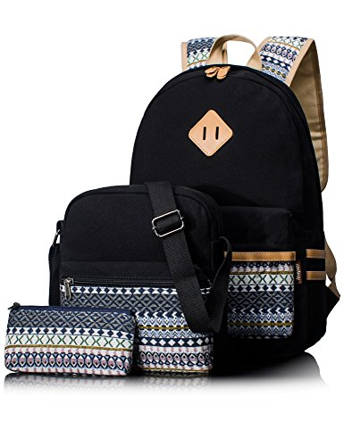 Leaper Casual Canvas School Backpack Shoulder Bag Pencil Bag Purse 3PCS Black
