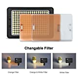 CRAPHY 204 LEDs C-204 On Camera Photo Studio Video LED Light with Dimmable Panel White Orange Filters for Canon, Nikon, Pentax, JVC DSLR DV Camcorder