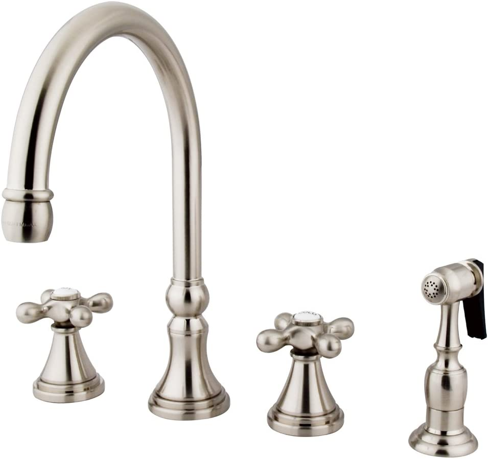 Kingston Brass Ks2798axbs Governor Deck Mount Kitchen Faucet With Brass Sprayer 8 1 4 Inch Brushed Nickel Touch On Kitchen Sink Faucets Amazon Com