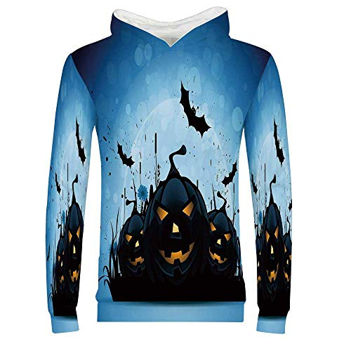 Halloween 3D Hoodie Sweatshirt,Scary Pumpkins in Grass with Bats Full Moon Traditional Composition Decorative for Kids Boys Girls,XXL]()