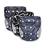 Joyo roy Baby Reusable Cloth Diaper Cover Pure Soft Washable Adjustable Nappies Leakproof Potty Training Underwear 3 Pack