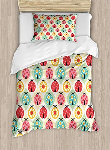 Kids Duvet Cover Sets King, Ladybugs Cartoon Pattern with Retro Polka Dots Daisy Blossoms and Little Hearts Love 4 Pieces Bedding Set Bedspread with 2 Pillowcases for Boys Girls Kids -