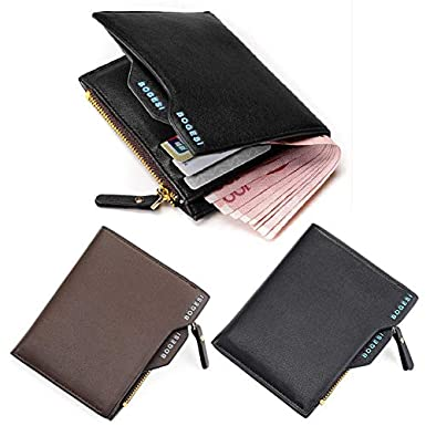 Sanyaleishen Mens Faux Leather ID credit Card holder Clutch Bifold Coin Purse Wallet