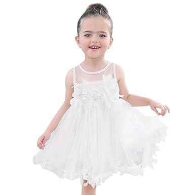 d53eee84002 Children Baby Girls Sleeveless Lace Floral Appliques Tutu Mesh Dresses Party  Wedding Princess Dress (White